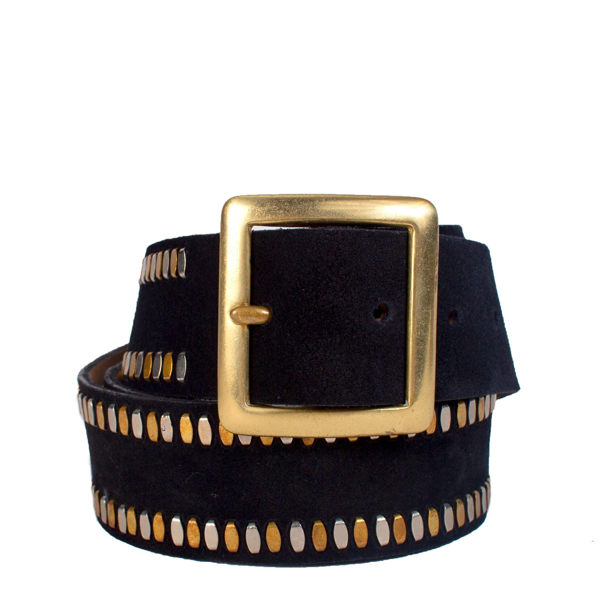 "handmade black suede leather 1.5"" belt for women with nickel and brass artwork - Calleen Cordero Designs"
