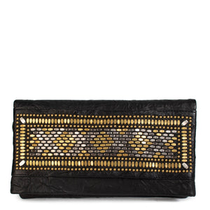 handmade black leather clutch handbag with brass and nickel studs artwork - Calleen Cordero Designs