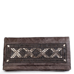 handmade grey leather clutch handbag for women with nickel and black studs artwork - Calleen Cordero Designs