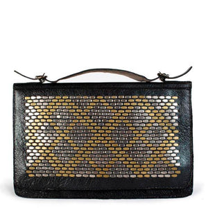 handmade black leather clutch wallet for women with brass and nickel studs artwork - Calleen Cordero Designs