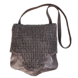handmade grey leather messenger handbag for women with black studs artwork on flap - Calleen Cordero Designs
