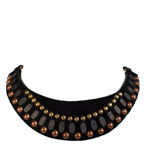 handmade black suede leather Necklace for women with nickel brass and copper studs artwork - Calleen Cordero Designs