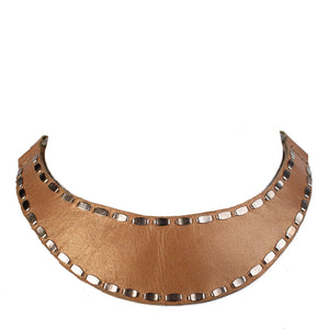 handmade beige leather necklace for women with nickel studs artwork - Calleen Cordero Designs