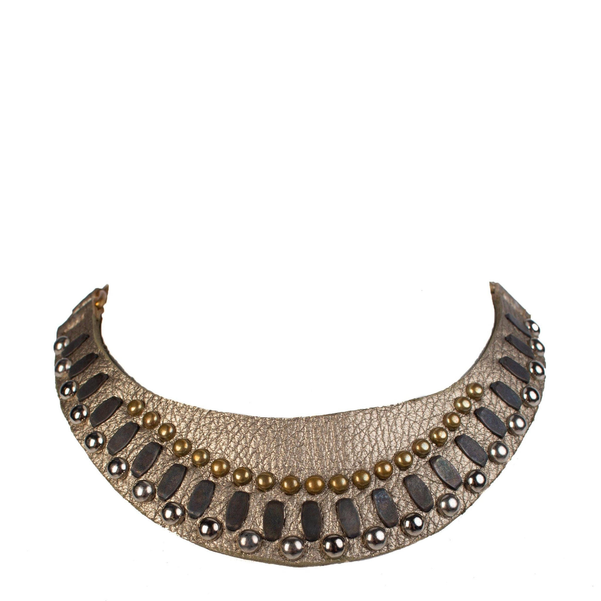 handmade grey metallic leather necklace for women with nickel, brass and black studs artwork - Calleen Cordero Designs