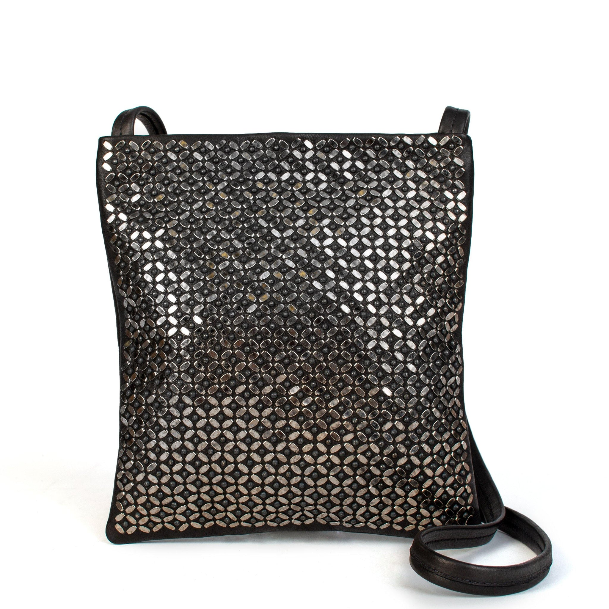 handmade black leather messenger handbag for women with nickel studs in whole front - Calleen Cordero Designs