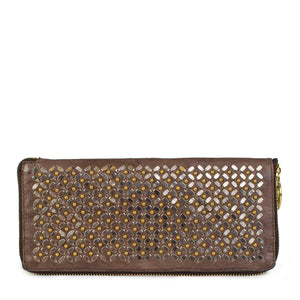 handmade light brown leather wallet for women with nickel and brass studs artwork all over - Calleen Cordero Designs