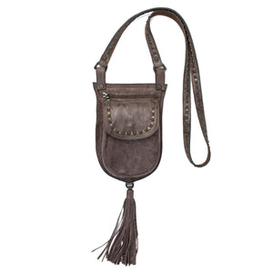 handmade grey leather messenger handbag for women with black and brass studs artwork - Calleen Cordero Designs