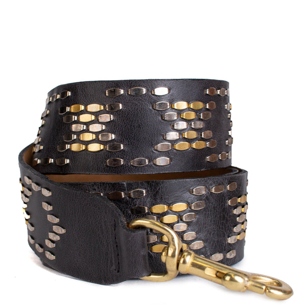handmade black leather handbag strap with nickel and brass studs artwork - Calleen Cordero Designs