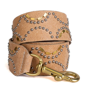 handmade tan leather detachable handbag strap for women with nickel and brass studs artwork - Calleen Cordero Designs