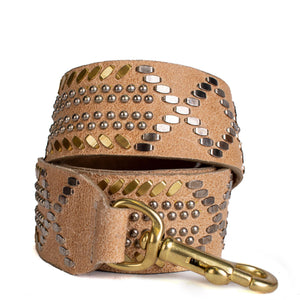 handmade tan beige leather handbag strap with nickel and brass studs artwork - Calleen Cordero Designs