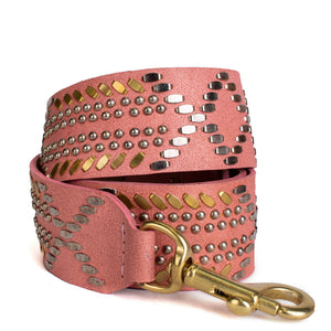 handmade pink leather detachable handbag strap for women with nickel and brass studs artwork - Calleen Cordero Designs