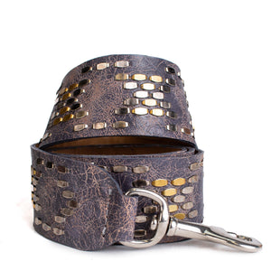 handmade grey cracked leather detachable handbag strap for women with brass and nickel studs artwork - Calleen Cordero Designs
