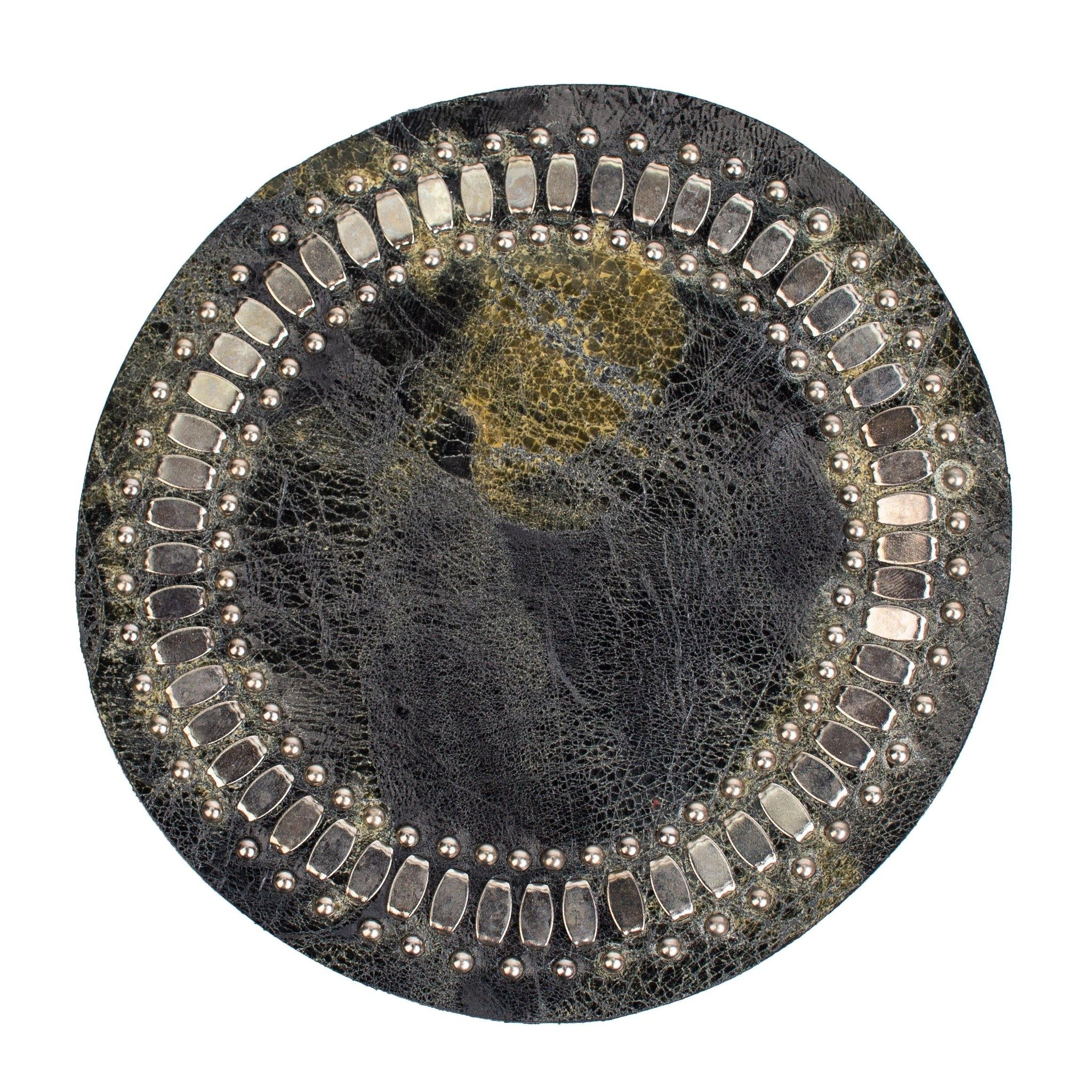 handmade black and green leather coaster with nickel studs artwork - Calleen Cordero Designs