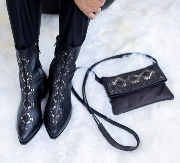 Handmade black leather boot for women with nickel studs artwork - Calleen Cordero Designs