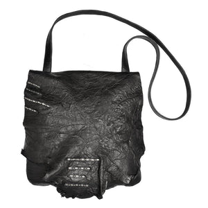 handmade black leather messenger handbag with nickel artwork