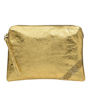 handmade gold mirror leather pouch bag for women with brass and nickel studs artwork - Calleen Cordero Designs
