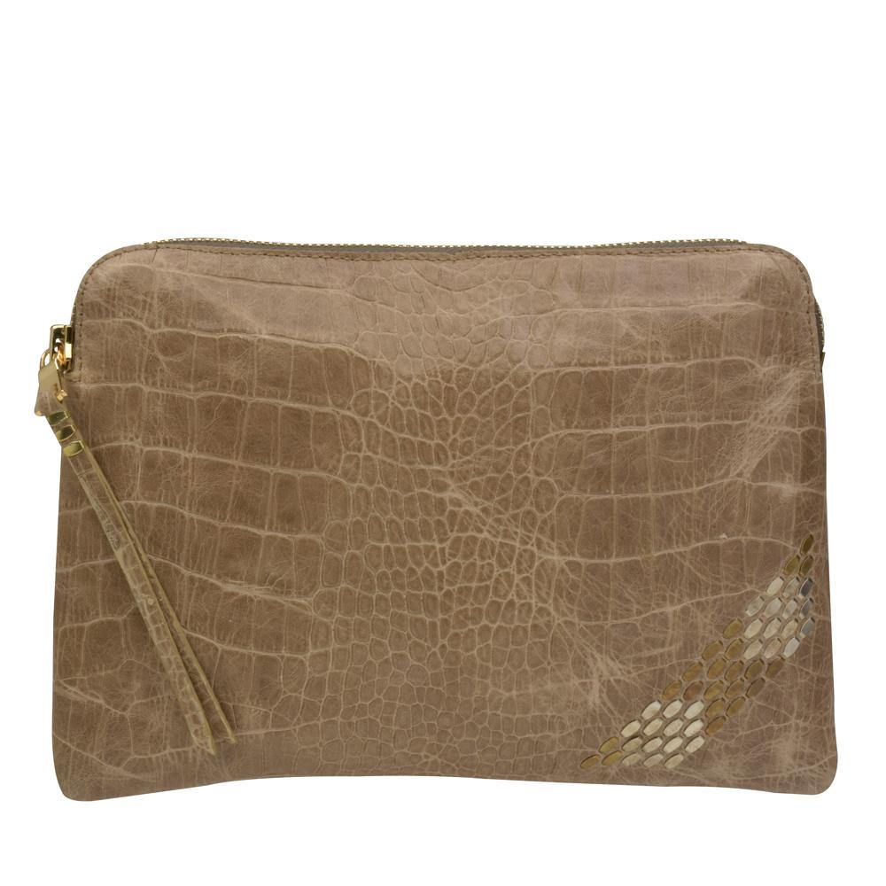 handmade silver mink croc stamped leather pouch bag for women with nickel and brass studs artwork - Calleen Cordero Designs