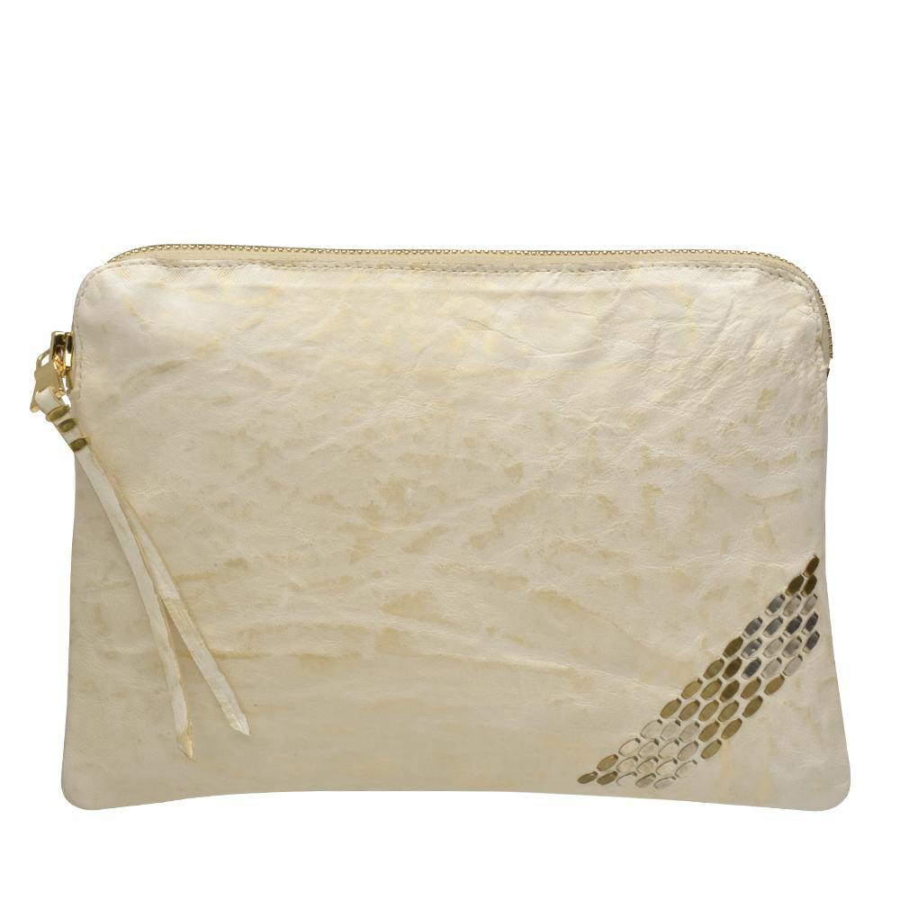 handmade white and gold leather pouch bag for women with nickel and brass studs artwork - Calleen Cordero Designs