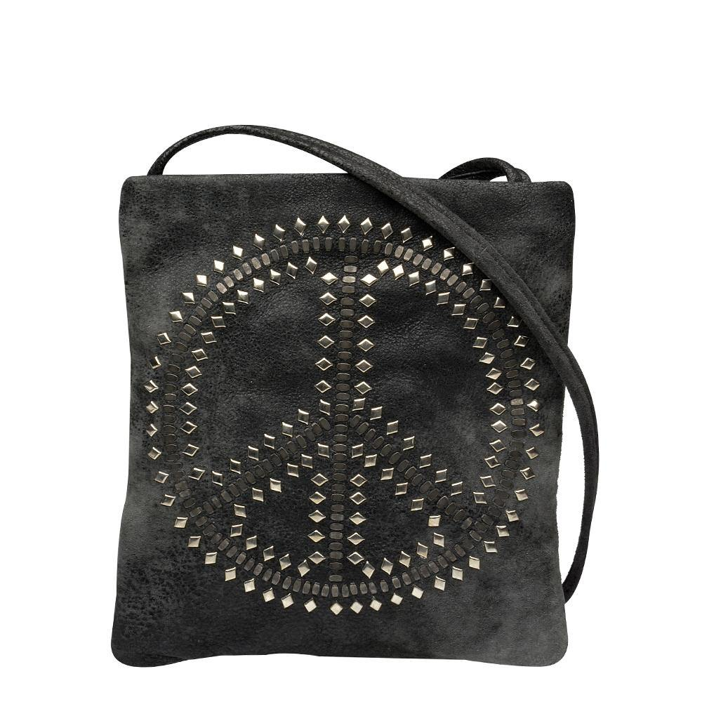 handmade dark grey suede leather messenger handbag with nickel studs artwork - Calleen Cordero Designs