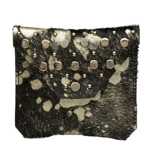 handmade black and silver distressed cow leather coin purse for women with nickel studs artwork - Calleen Cordero Designs