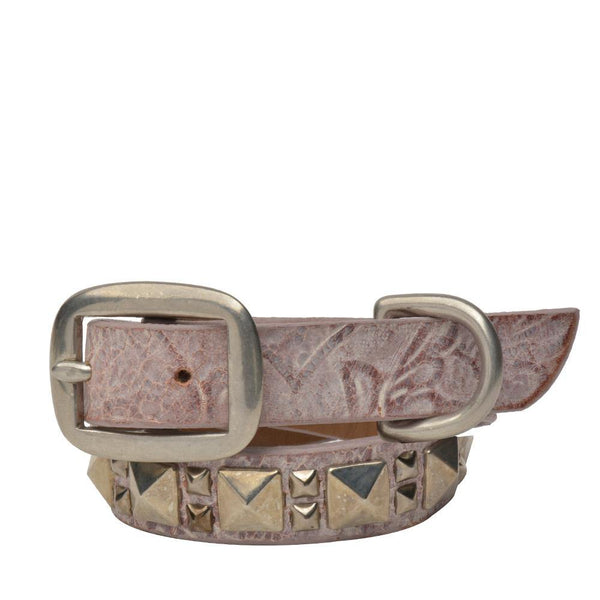"Handmade pink tooled leather 15"" Dog Collar with nickel studs artwork - Calleen Cordero Designs"