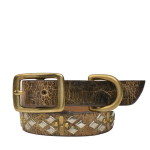 "Handmade brown cracked leather 15"" Dog Collar with brass and nickel  studs artwork - Calleen Cordero Designs"