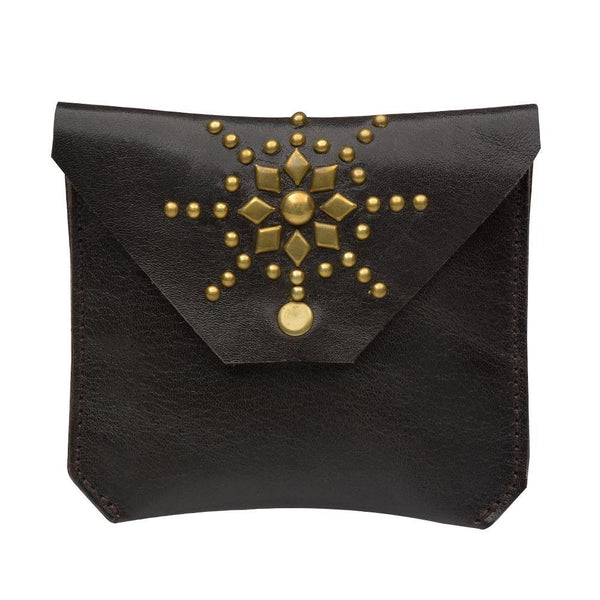 handmade brown leather coin purse for women with brass studs artwork - Calleen Cordero Designs