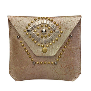 handmade light pink cracked leather eye coin purse for women with nickel and brass studs artwork - Calleen Cordero Designs