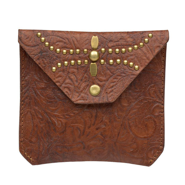 handmade tan tooled leather coin purse for women with brass studs artwork - Calleen Cordero Designs