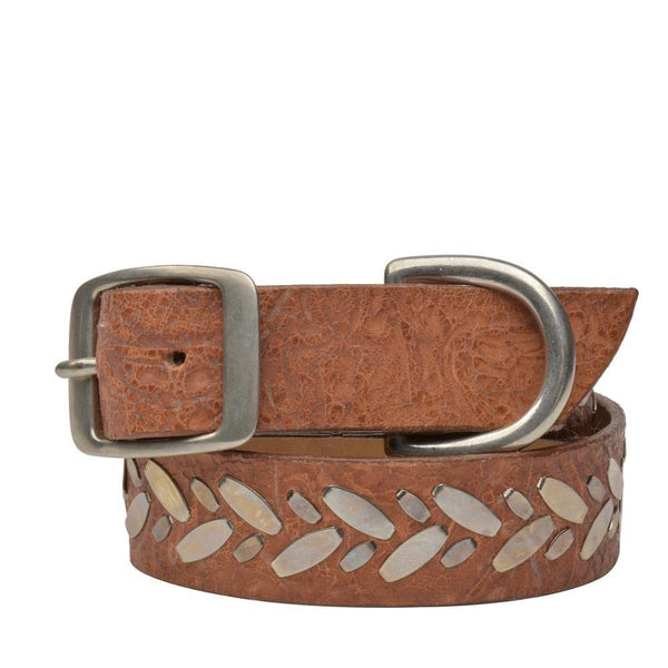 "Handmade tan tooled leather 19"" Dog Collar with nickel studs artwork - Calleen Cordero Designs"