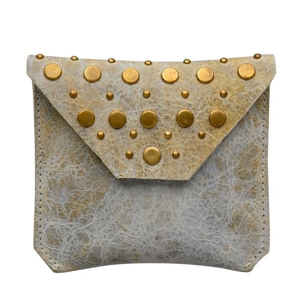 handmade white and gold cracked leather coin purse for women with brass studs artwork - Calleen Cordero Designs