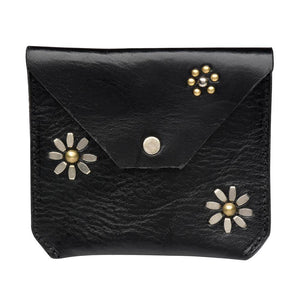 handmade black leather flowers coin purse for women with nickel and brass studs artwork - Calleen Cordero Designs