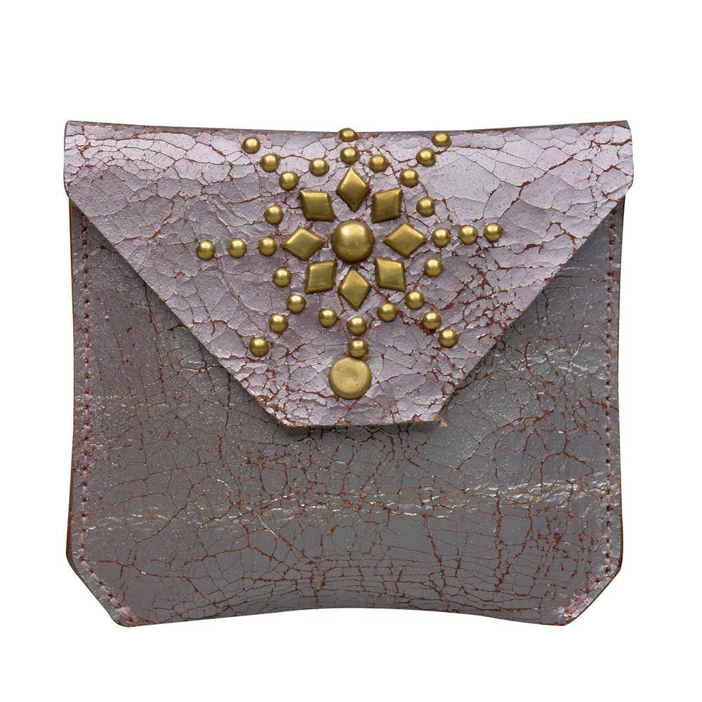 handmade metallic pink cracked leather coin purse for women with brass studs artwork - Calleen Cordero Designs