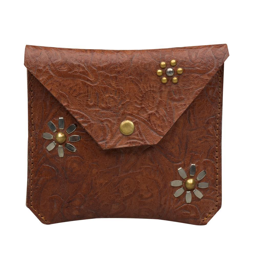handmade tan tooled leather flowers coin purse for women with nickel and brass studs artwork - Calleen Cordero Designs