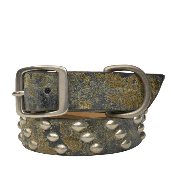 "Handmade black and green leather 19"" Dog Collar with nickel studs artwork - Calleen Cordero Designs"