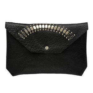 handmade black leather wallet for women with nickel studs artwork - Calleen Cordero Designs