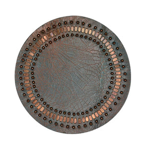 handmade copper cracked leather coaster with brass studs artwork - Calleen Cordero Designs