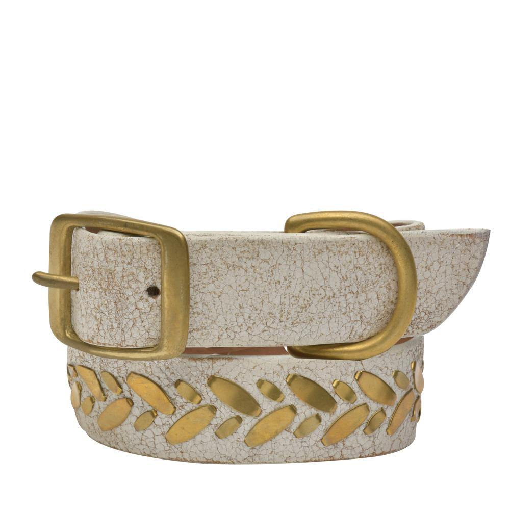 "Handmade white cracked leather 19"" Dog Collar with brass studs artwork - Calleen Cordero Designs"