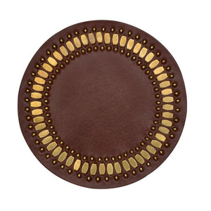 handmade cognac leather coaster with brass studs artwork - Calleen Cordero Designs