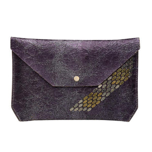 handmade purple cracked leather wallet for women with nickel and brass studs artwork - Calleen Cordero Designs