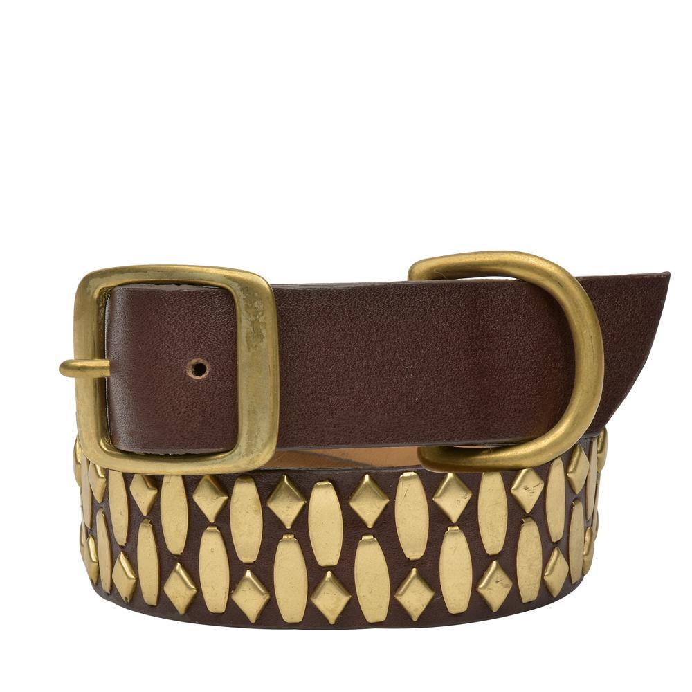 "Handmade dark brown leather 19"" Dog Collar with brass studs artwork - Calleen Cordero Designs"