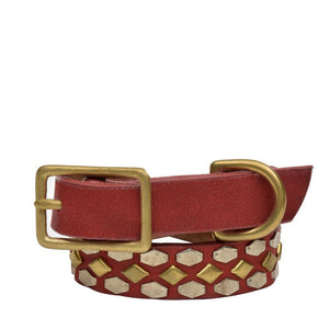 "Handmade red leather 12"" Dog Collar with brass and nickel studs artwork - Calleen Cordero Designs"