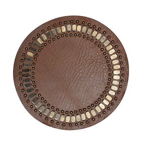 handmade blush pink leather coaster with nickel studs artwork - Calleen Cordero Designs