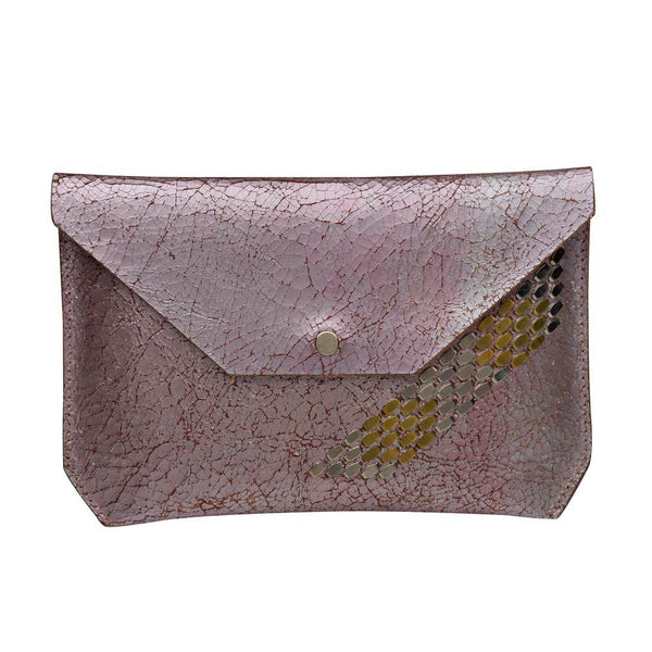 handmade pink cracked leather wallet for women with nickel and brass studs artwork - Calleen Cordero Designs