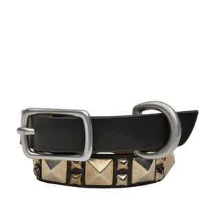 "Handmade black leather 12"" Dog Collar with nickel studs artwork - Calleen Cordero Designs"