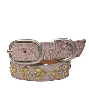 "Handmade pink tooled leather 15"" Dog Collar with brass and nickel studs artwork - Calleen Cordero Designs"