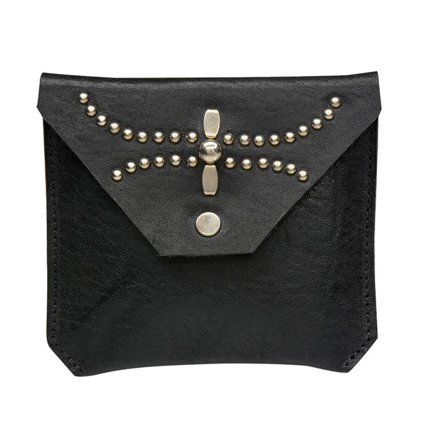 handmade black leather coin purse for women with nickel studs artwork - Calleen Cordero Designs