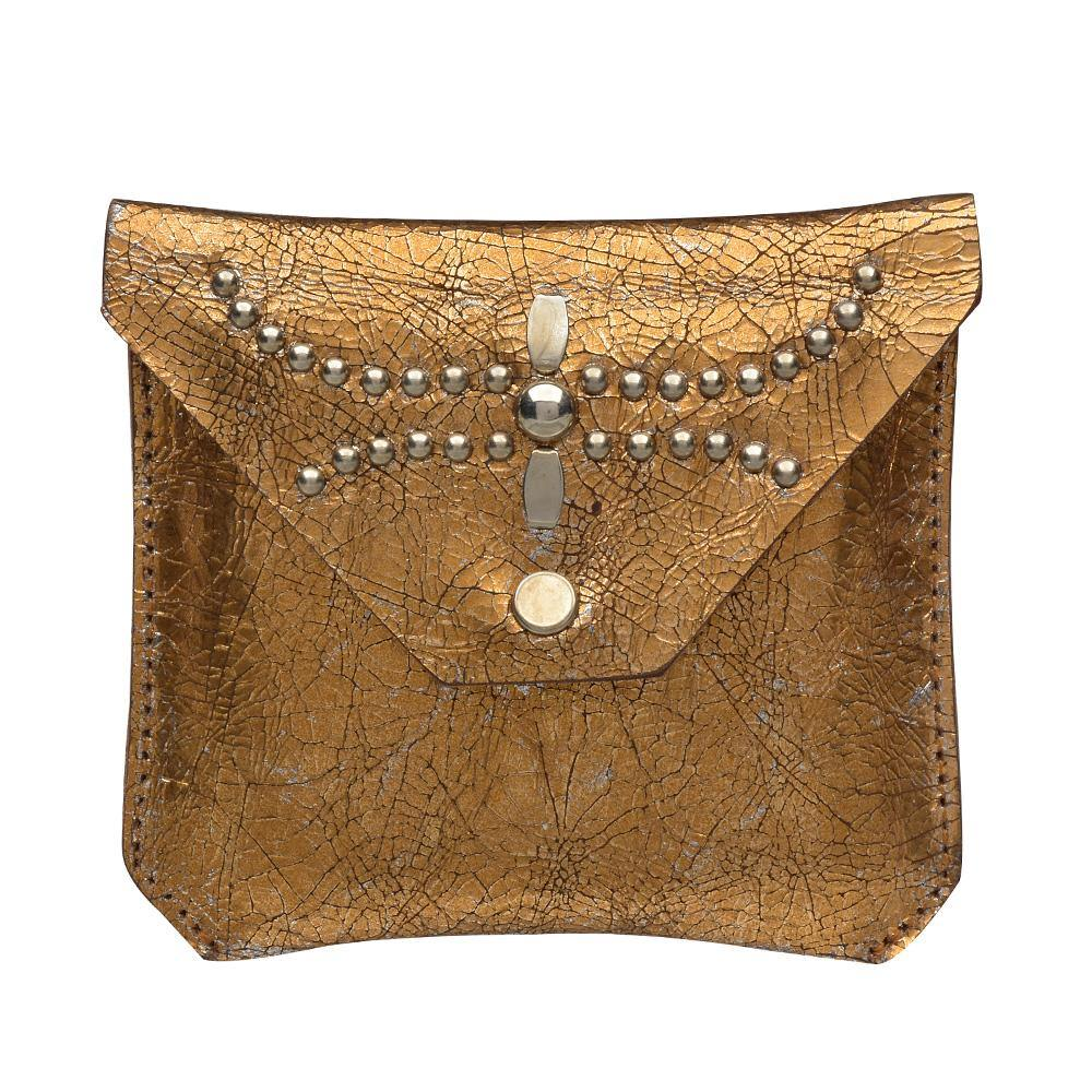 handmade copper cracked leather coin purse for women with nickel studs artwork - Calleen Cordero Designs