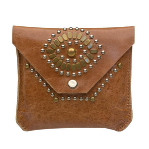 handmade light brown leather eye coin purse for women with nickel and brass studs artwork - Calleen Cordero Designs