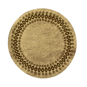 handmade gold cracked leather coaster with brass studs artwork - Calleen Cordero Designs